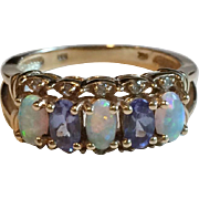 Vintage 14k Gold Opal, Diamond and Tanzanite Ring