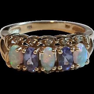 Vintage 14k Gold Opal, Diamond and Tanzanite Ring