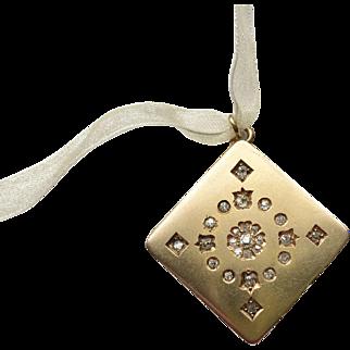 Elegant 14k Gold and Diamond Locket Fob