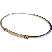 Vintage Cartier Sterling Silver & 18k Yellow Gold Hammered Oval Bangle Bracelet