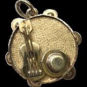 14k Gold Vintage 3- Dimensional Musical Charm Pendant