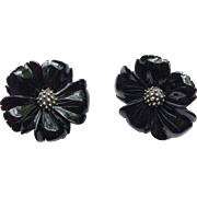 Stephen Dweck Onyx Flower Clip-On Earrings