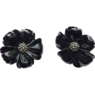 Stephen Dweck Onyx Flower Clip-On Earrings