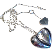 Fabulous Sterling Puffy Heart Necklace with Heart on Back Closure