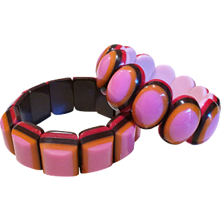 Pair of French Designer Stretch Bracelets in Hot Shades of Summer