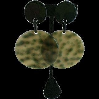 Large French Designer Plastic/Resin Earrings