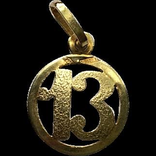 18k Gold 13 Charm