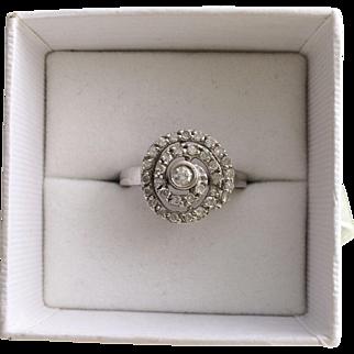 Swirl of Diamonds Art Deco 14k Gold Ring