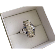 Art Deco 0.50 Carat Diamond Sapphire 18k Gold Cocktail Ring