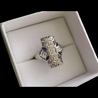 Art Deco 0.50 Carat Diamond Sapphire 18k Gold Cocktail Ring