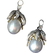 A pair of South Sea Pearl & Diamond Pendant Earring Jackets 1930-40's