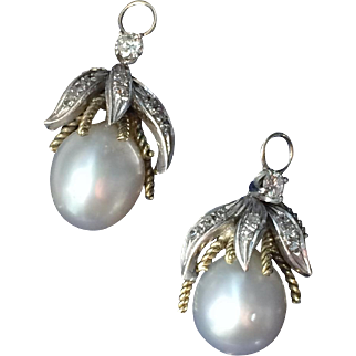 A pair of South Sea Pearl & Diamond Pendant Earrings 1930-40's