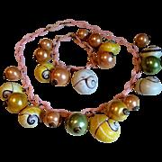 1940s Demi Parure Seashell Necklace and Bracelet