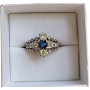 Beautiful Antique 18k Gold Rose Diamond Ring with Sapphire