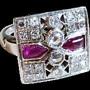 Art Deco Vintage 1930's Ruby Diamond Ring 14K