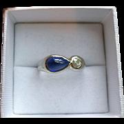 1980s Modernist Sapphire and Diamond Ring