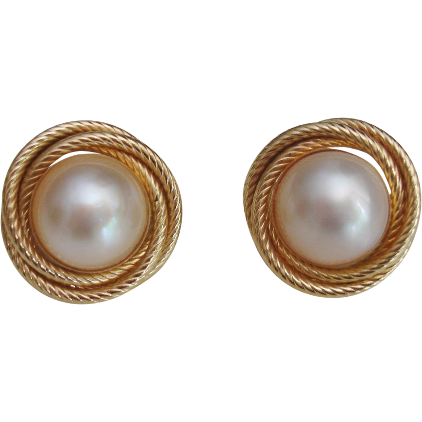 14k Solid Gold Large Mabe Pearl French Clip Earrings Twisted Rope Sold Ruby Lane
