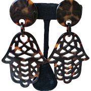 Faux Tortoise Resin Large Hamsa Earrings