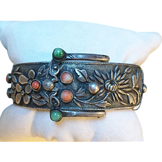 Rare Chinese Silver Buckle Bracelet Signed BEE