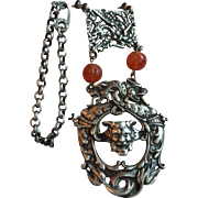 Vintage Silver Necklace with Chinese Carnelian Beads