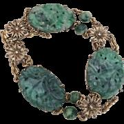 Elegant Antique Chinese Jadeite Jade and Gilt Silver Bracelet