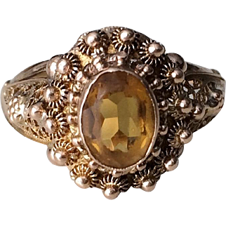 Victorian 18k Gold Citrine Etruscan Revival Ring