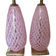 Pair of Murano Glass Lamps with Swirls of Pink and White Ribbons