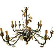 French Gold Leaf Tole Chandelier Circa 1940's