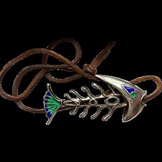 Modernist Silver & Enamel Articulated Fish Pendant