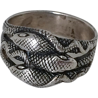 Fabulous Vintage Silver Snake Ring Size 11