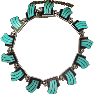 RARE Vintage Margot de Taxco Enamel Bracelet MINT