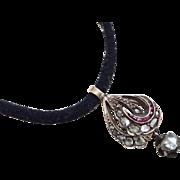 Rose Diamond & Ruby Georgian Pendant