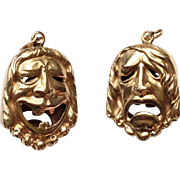 14k Gold Vintage Double Sided Comedy and Tragedy Charm or Pendant
