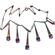 Sterling Silver and Amethyst Mid Century Modernist Necklace Israel