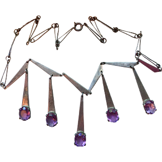 Sterling Silver and Amethyst Mid Century Modernist Necklace
