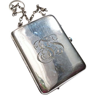 French Sterling 950 Silver Dance Purse Compact Bag Nécessaire
