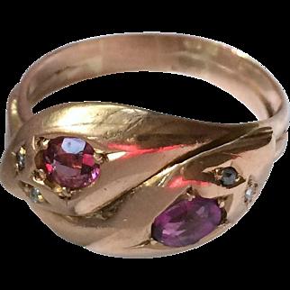 Victorian 9 kt Rose Gold English Snake Ring Rose Cut Diamonds