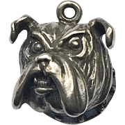 Unusual Figural Vintage Silver Charm of Bull Dog