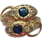 Edwardian 12kt Snake Ring with Sapphires and Diamonds, circa 1910
