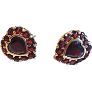 Vintage Bohemian Garnet Earrings in Silver Vermeil