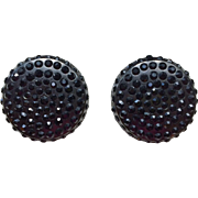 Dramatic Chanel Earrings with Black Crystals, circa 1980's