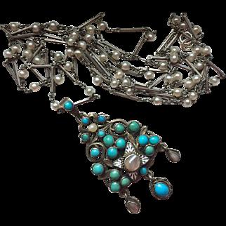 "Antique Austro-Hungarian Enamel Silver Pearl Pendant on Antique 50"" Chain"