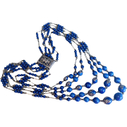 Exquisite Antique French Lapis Necklace, circa 1920's