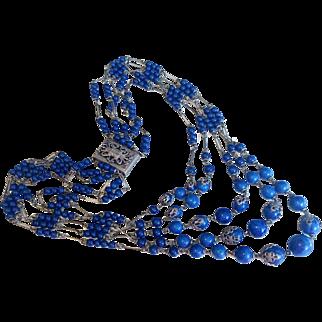 Exquisite Antique French Lapis Glass Necklace, circa 1920's