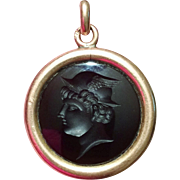 Victorian Watch Fob Deep Amethyst Intaglio in 14k Rose Gold