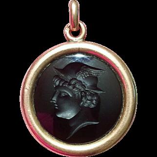 Victorian Watch Fob Deep Amethyst Intaglio in 14k Rose Gold