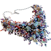 Magnificent Vintage Gemstone Runway Necklace on Silver
