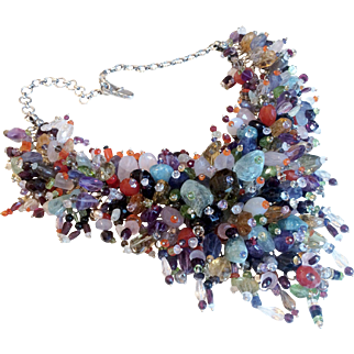 Magnificent Vintage Gemstone Runway Necklace on Silver
