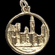 Vintage New York City Skyline Disc 14k Gold Charm