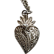 Antique Filigree Witches Heart Pendant With Chain circa 1850